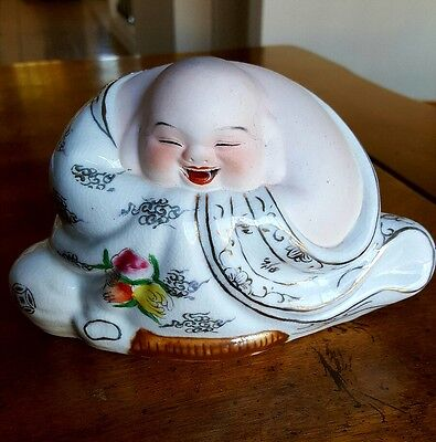 Chinese Jingdezhen Hand Painted Porcelain Laughing Buddha Statue - White