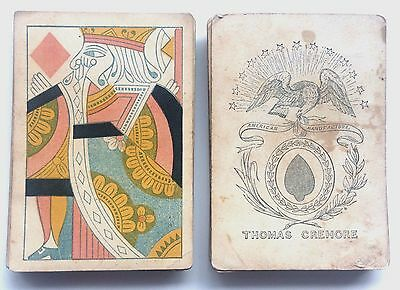 c.1830 Crehore Playing Cards Rare Pre-Civil War Americana Standing Courts 33/52