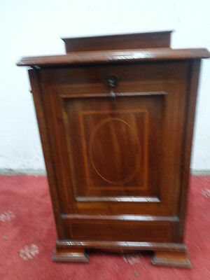 Edwardian Mahogany and Inlaid Coal Purdonium BOX SCUTTLE CAN COURIER