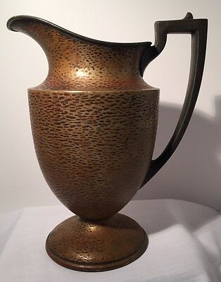 "Vintage Sheffield Silver Plate 10"" Water Pitcher w/ Hammered Finish #0154"