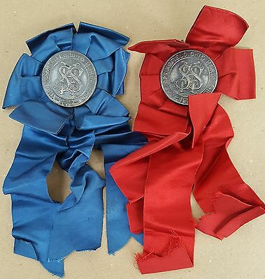 Antique 1916 Springfield Ohio Horse Show Ribbons Red & Blue