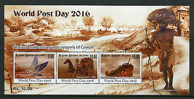 Sri Lanka 2016 MNH World Post Day 3v M/S Mail Coach Clipper Boats Ships Stamps