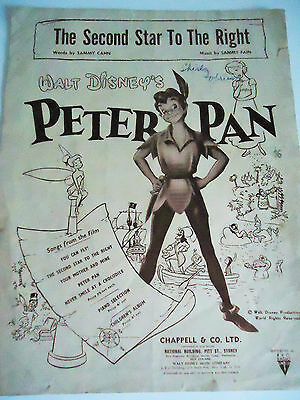 1951.walt Disney's Peter Pan..the Second Star To Right..original Sheet.. Good..