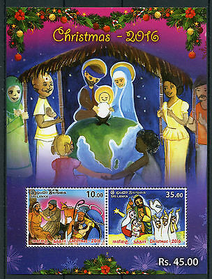 Sri Lanka 2016 MNH Christmas Nativity Baby Jesus Mary 2v M/S Stamps