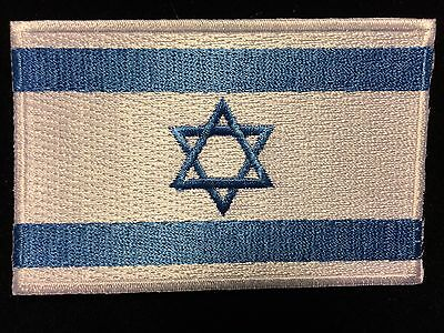 "ISRAEL FLAG STAR OF DAVID IRON-ON/SEW-ON EMBROIDERED APPLIQUE PATCH - 3.5""x2.25"""