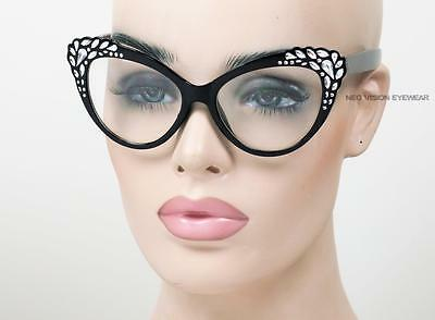 Oversized Faux Rhinestone Cat Eye Glasses Pinup Vintage Style 3 Colors Clear 415