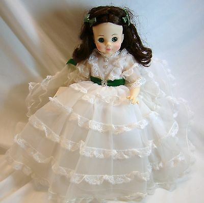 """Scarlett White Dress Madame Alexander Gone with the Wind 13"""" 1965 Very Good"""