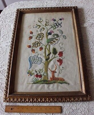 Vintage American Large Hand Embroidered Jacobean Crewl Work In Gilded Frame