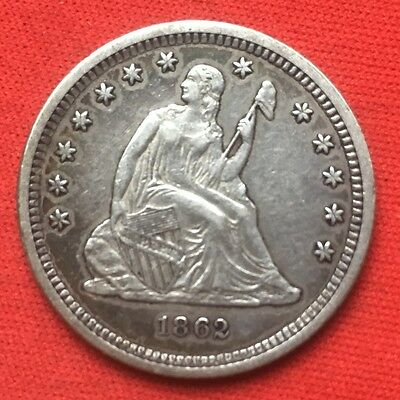 1862 25C Liberty Seated Quarter Civil War Type Coin Almost Uncirculated AU
