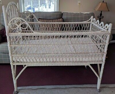Antique Wicker Baby Crib on Wheels Over 100 Years Old