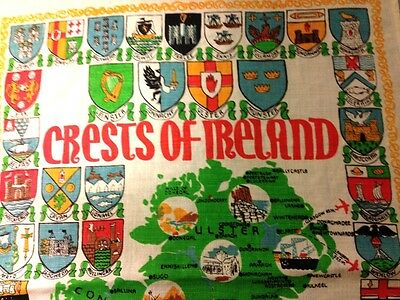 Lovely Vintage CRESTS OF IRELAND Tea Towel Pure Linen Made in Ireland 31 x 19