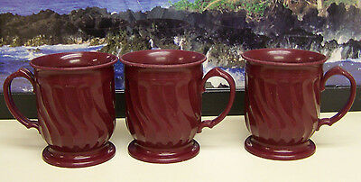 (LOT OF 3) #3000 Turnbury By Dinex Maroon Swirl Pattern Insulated Coffee Cup.