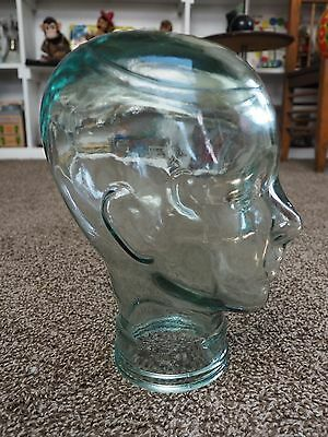 Green Tinted GLASS MANNEQUIN HEAD for Store Hat-Wig-Scarf DISPLAY