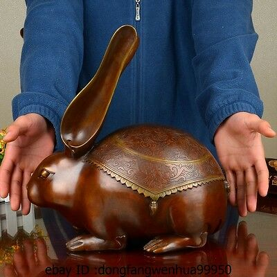 China Pure Red Copper Sculpture Auspicious Zodiac Rabbit Hare Decoration Statue