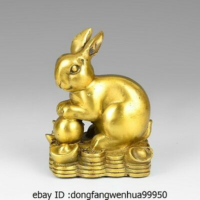 China Brass Copper Auspicious Yuanbao Wealth Lucky Rabbit Hare Decoration Statue