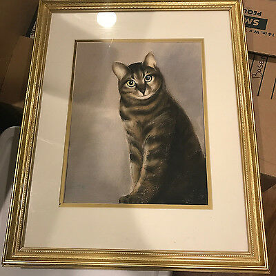 Original, gold framed and matted charcoal cat print