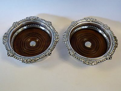 svx PAIR ANTIQUE GEORGIAN REGENCY OLD SHEFFIELD PLATE WINE COASTERS C. 1830