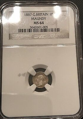 1887 Great Britain Maundy Silver 1 Pence NGC MS 64
