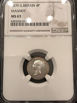 1879 Great Britain Maundy Silver 4 Pence NGC MS 63