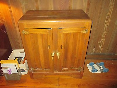 Vintage Oak Ice Box with Original Hinges and Handles