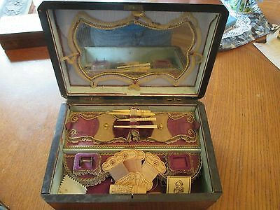 Antique Victorian inlaid wood sewing box beautiful  inside