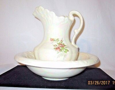 Sm. Vintage Iridescent colored Washer Pitcher and Bowl Set with Roses