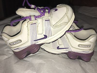 Baby Toddler Girl Nike Shox Size 8c White And Purple All Leather Shoes