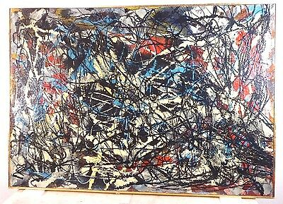 VINTAGE ABSTRACT EXPRESSIONIST DRIP OIL PAINTING MID CENTURY MODERN Signed