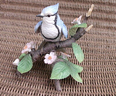 1995 Lenox Fine Porcelain Female Blue Jay Perched On Dogwood With Flowers