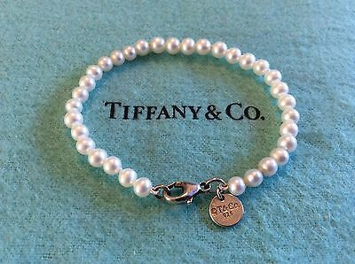 Tiffany Co Sterling Silver Ziegfeld Collection Pearl Bracelet Pearls 6 5 Inch