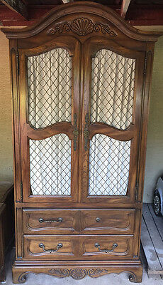 5 Piece FRUITWOOD ARMOIRE Gentlemans Wardrobe French Country Provincial VINTAGE