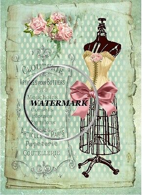 """Shabby French Theme - Corset with Bow - Collage - 5 x 7"""" - Cotton"""