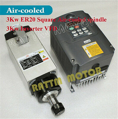 【USA Stock】 Square 3KW Air Cooled Spindle Motor ER20+Inverter VFD for CNC Router