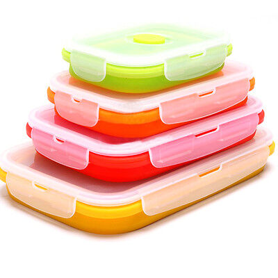 1Pc Silicone Collapsible Food Fruits Fresh Container Folding Lunch Box 4 Sizes