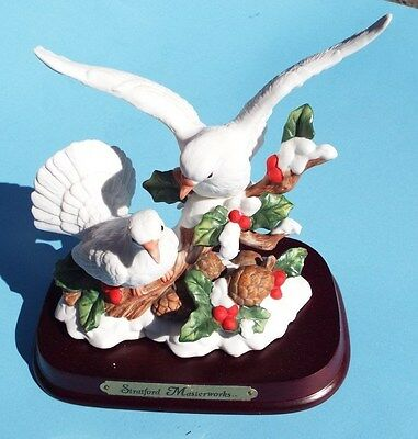 Stratford Masterworks Collection Dove Family - Winter Setting - W/ Display Stand