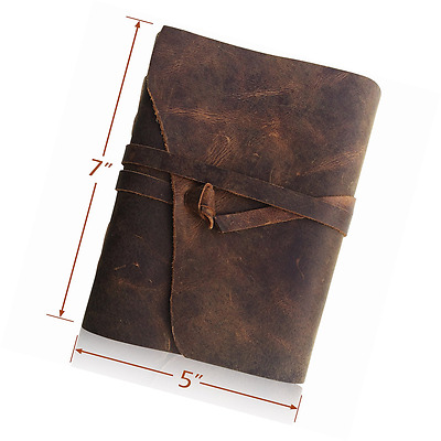 LEATHER JOURNAL Writing Notebook - Antique Handmade Leather Bound Daily Notepad