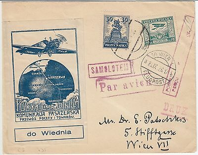 1926 Poland Austria Wien Air Label Aviation Plane Flight Cover Lemberg Danzig !