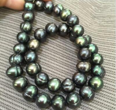 """18"""" AAA 9-10mm baroque South sea Black green Pearl Necklace"""