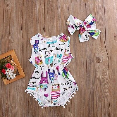 Adorable Baby Girls Painting Bodysuit Romper Headband Jumpsuit Sunsuit Outfit