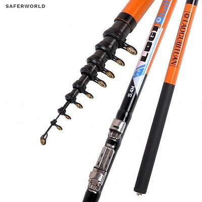 NEW Hard Orange Fishing Rod Carbon Telescopic Rockies high Quality pole Spinning