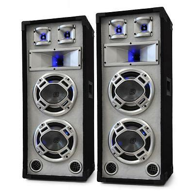 "PAIR SKYTEC BLACK/WHITE 2x 8"" SPEAKERS 1200W SOUND LED LIGHTS DJ PARTY LOUD"