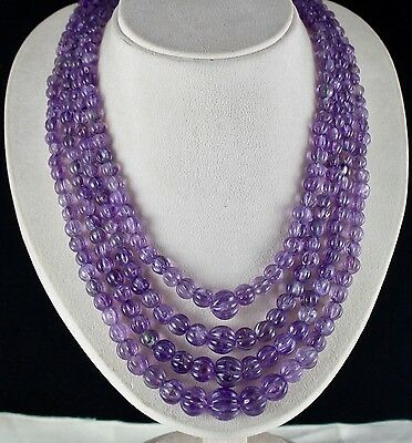 Old Antique Big 4 Line 1036Cts Natural Amethyst Carved Melon Beads Necklace