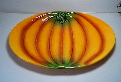 """Large 18"""" OLFAIRE Portugese Majolica Pumpkin Serving Platter Thanksgiving Tray"""