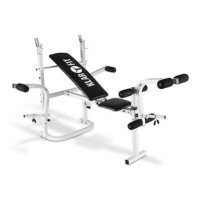 Bicep Curl Weight Training Bench Work Out Station Full Body Adjustable - White
