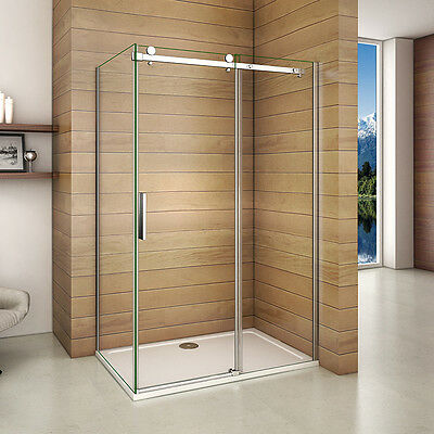 Aica 1950 Frameless Sliding Shower Enclosure & Tray Walk In Glass Screen Cubicle
