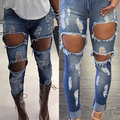 Women Hole Destroyed Ripped Distressed Slim Denim Pants Jeans Trousers