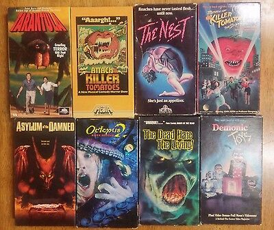 VHS Horror Lot of 8 Bundle Killer Tomatoes, The Nest, Demonic Toys, and more