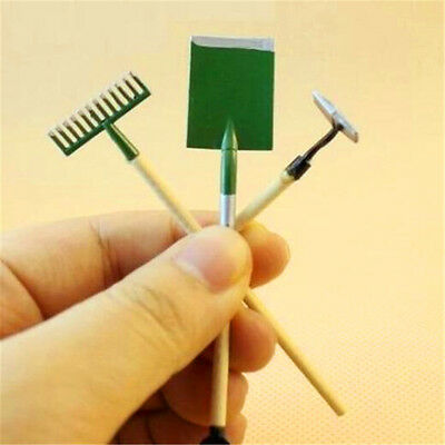3PC/Set Dollhouse Miniature Fairy Garden Accessory Tools Spade Rake Shed 1:12 ♫