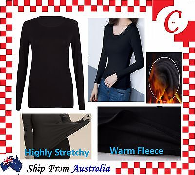 Women Ladies Underwear Winter Warm Fleece Fur Lined Thermal Long Sleeve Top New