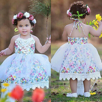 Kids Baby Girls Lace Floral Dress Tulle Party Dresses Sundress Outfits Clothing